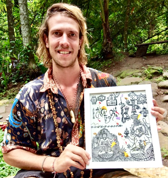 MYSTIC YANTRA drawn by our Brahman for a Guest from Brazil, following his intention I am a musician. I succeed in making music a global instrument of healing Ubud, March 2020